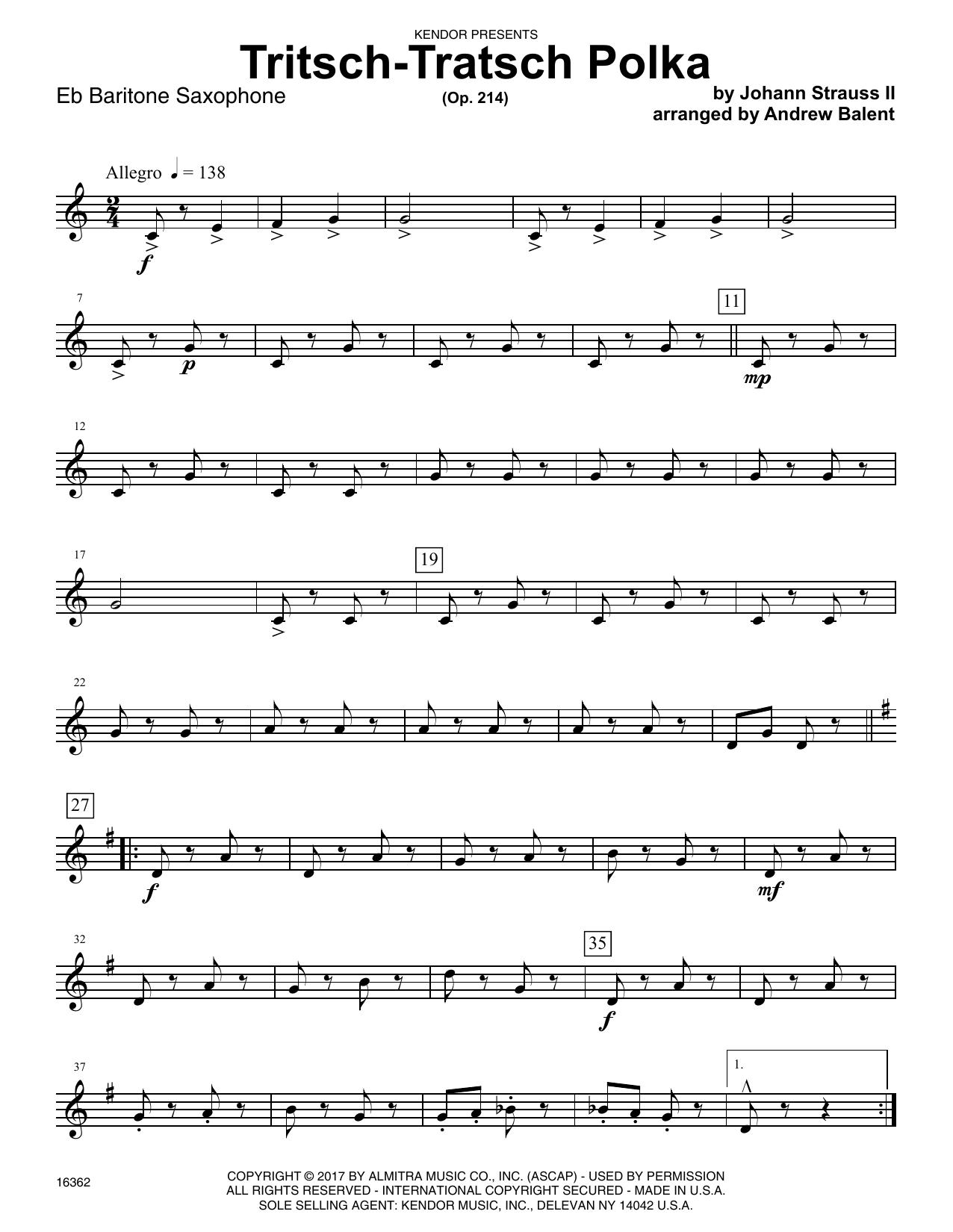 Andrew Balent Tritsch-Tratsch Polka (Op. 214) - Eb Baritone Saxophone sheet music notes printable PDF score