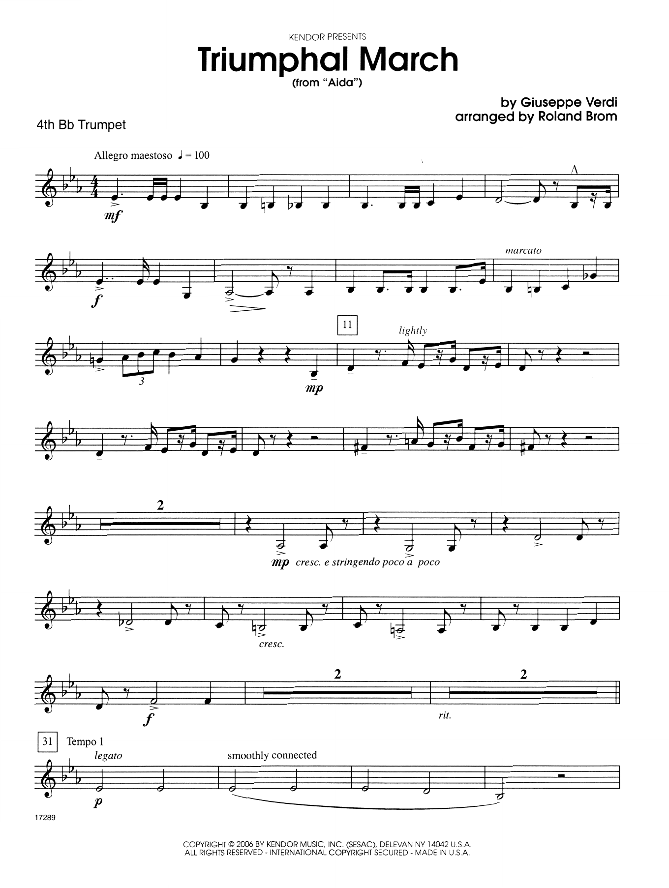 Roland Brom Triumphal March (from Aida) - 4th Bb Trumpet sheet music notes printable PDF score