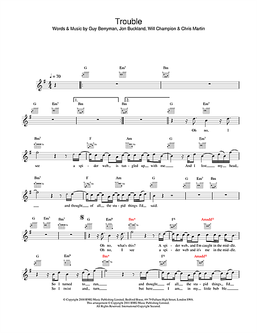 Coldplay Trouble sheet music notes printable PDF score