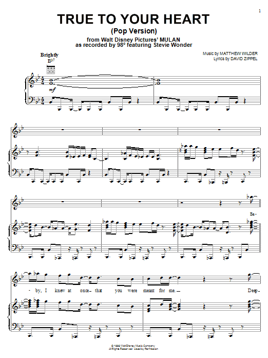 98 Degrees & Stevie Wonder True To Your Heart (from Mulan) sheet music notes printable PDF score