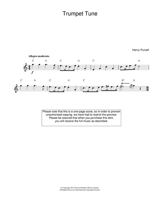 Henry Purcell Trumpet Tune sheet music notes printable PDF score