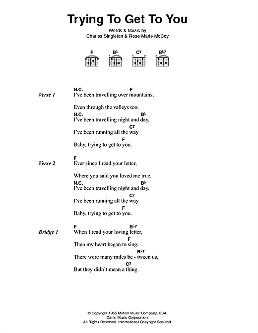 Elvis Presley Trying To Get To You sheet music notes printable PDF score
