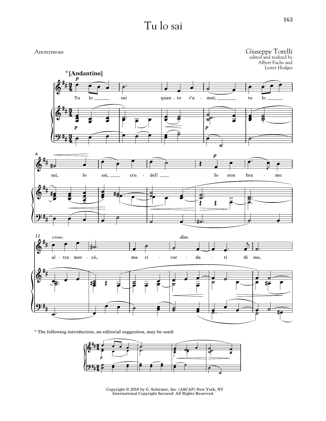 Giuseppe Torelli Tu Lo Sai sheet music notes printable PDF score