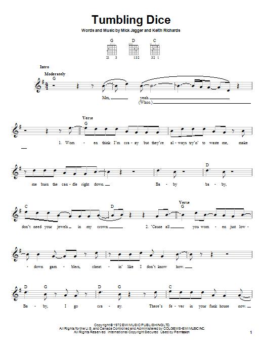 The Rolling Stones Tumbling Dice sheet music notes printable PDF score