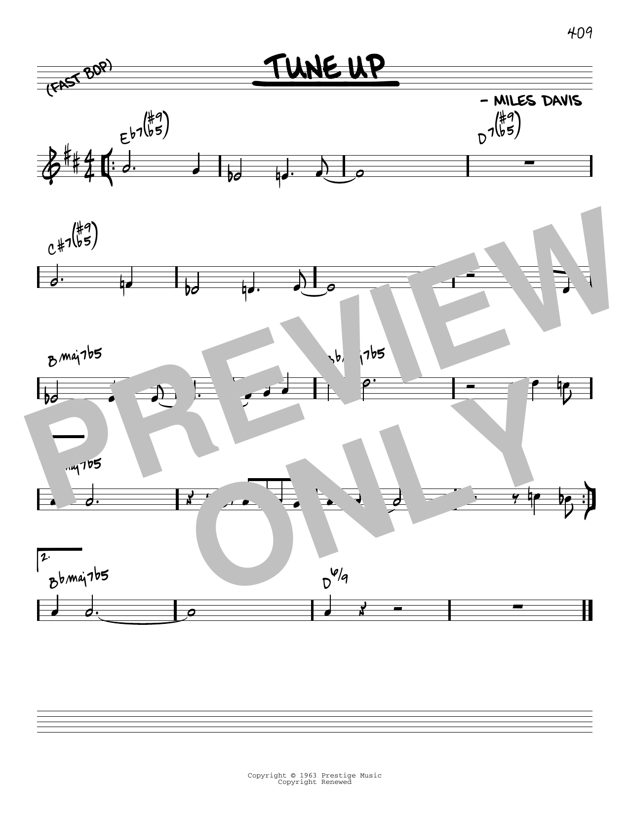 Miles Davis Tune Up [Reharmonized version] (arr. Jack Grassel) sheet music notes printable PDF score