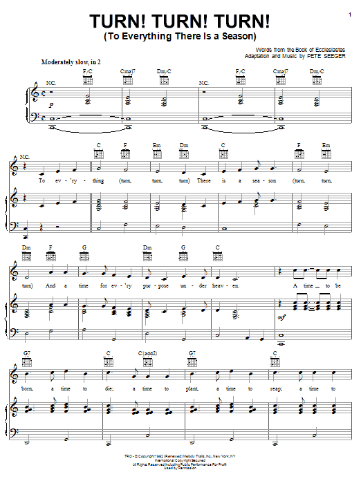The Byrds Turn! Turn! Turn! (To Everything There Is A Season) sheet music notes printable PDF score