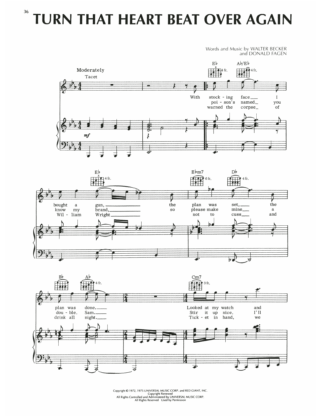 Steely Dan Turn That Heart Beat Over Again sheet music notes printable PDF score
