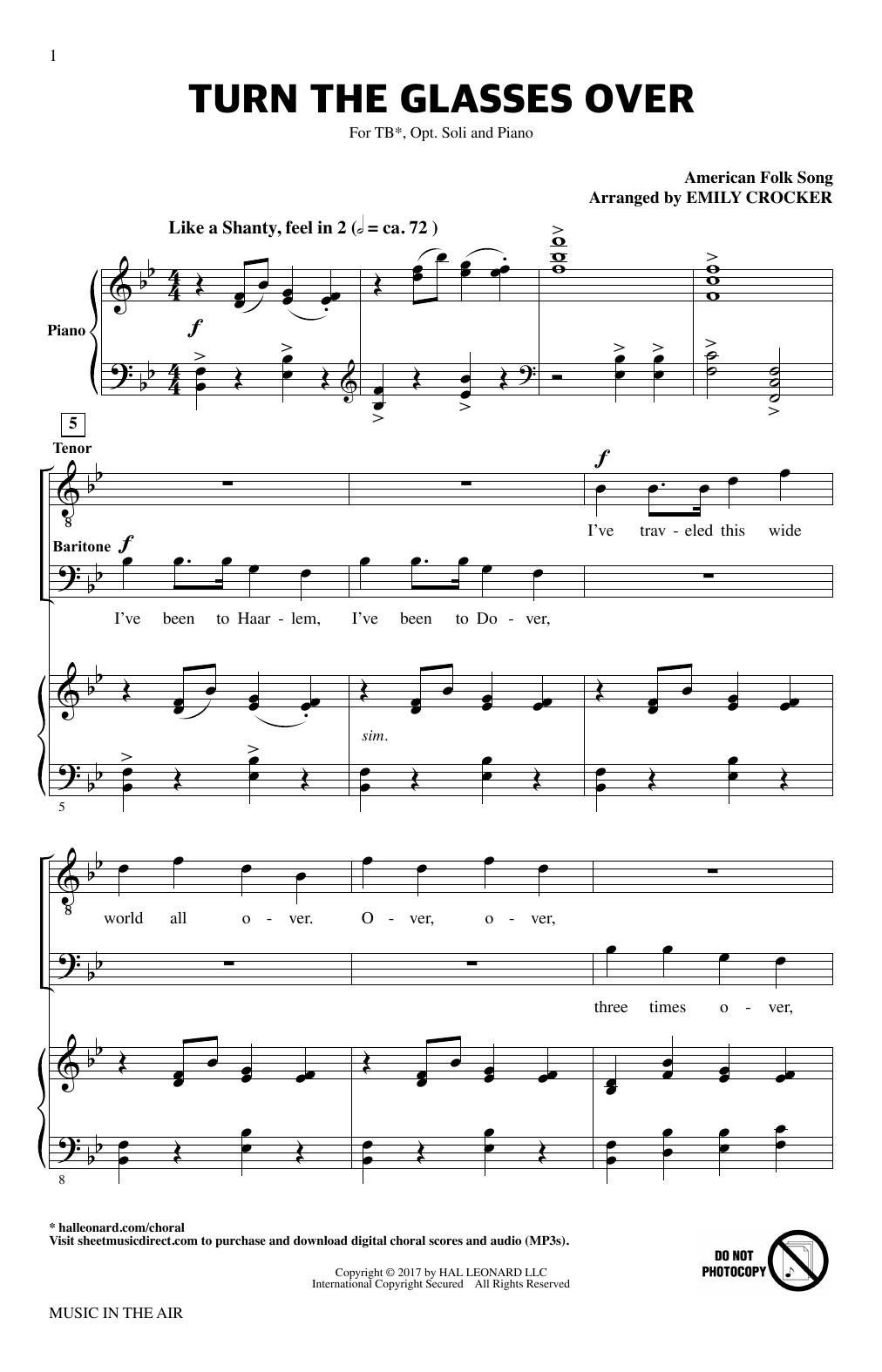 Emily Crocker Turn The Glasses Over (from Music In The Air) sheet music notes printable PDF score