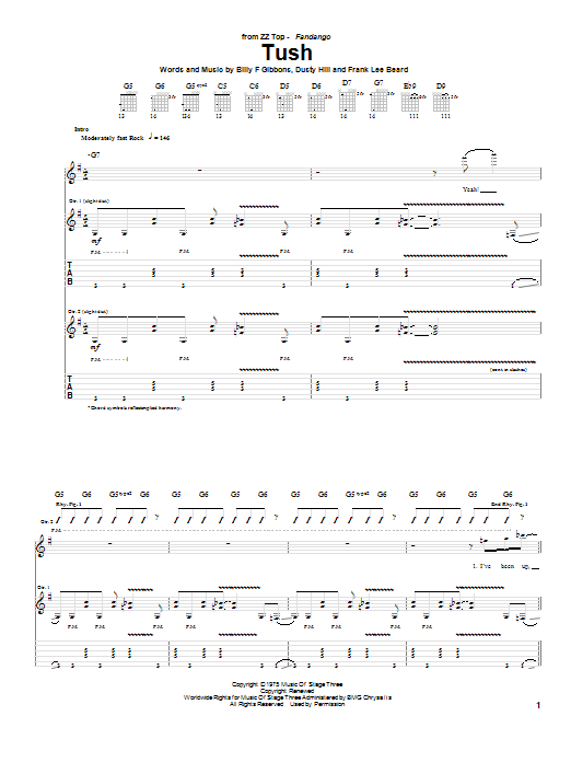 ZZ Top Tush sheet music notes printable PDF score
