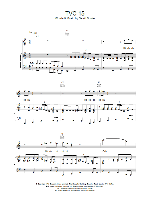 David Bowie TVC15 sheet music notes printable PDF score