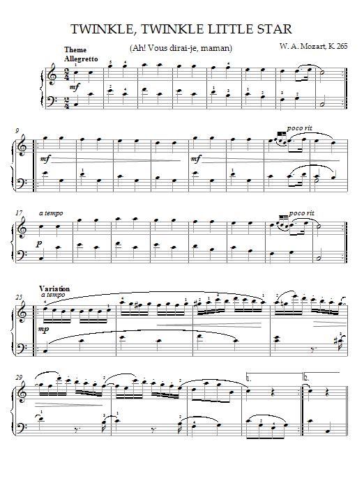 Wolfgang Amadeus Mozart Twinkle, Twinkle, Little Star (Ah! Vous dirai-je, maman) Theme sheet music notes printable PDF score