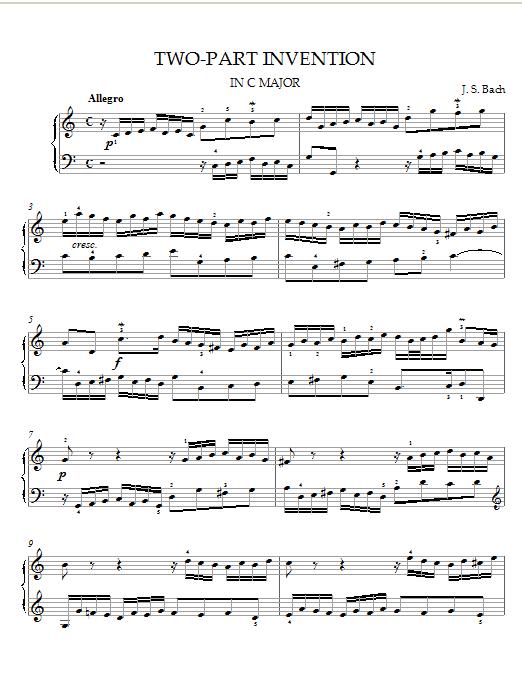 Johann Sebastian Bach Two-Part Invention in C Major sheet music notes printable PDF score