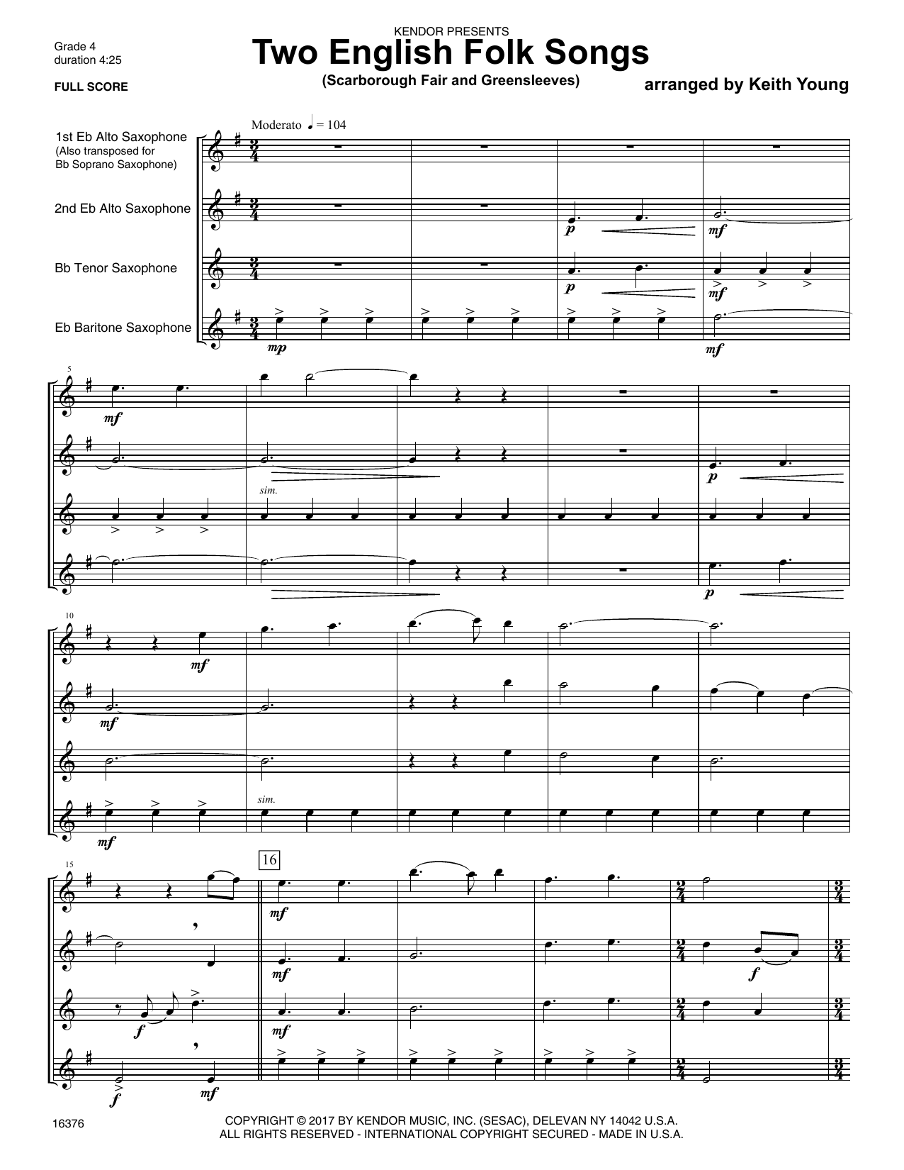Keith Young Two English Folk Songs (Scarborough Fair and Greensleeves) - Full Score sheet music notes printable PDF score