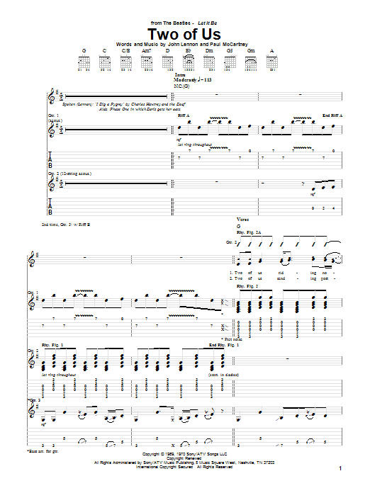The Beatles Two Of Us sheet music notes printable PDF score