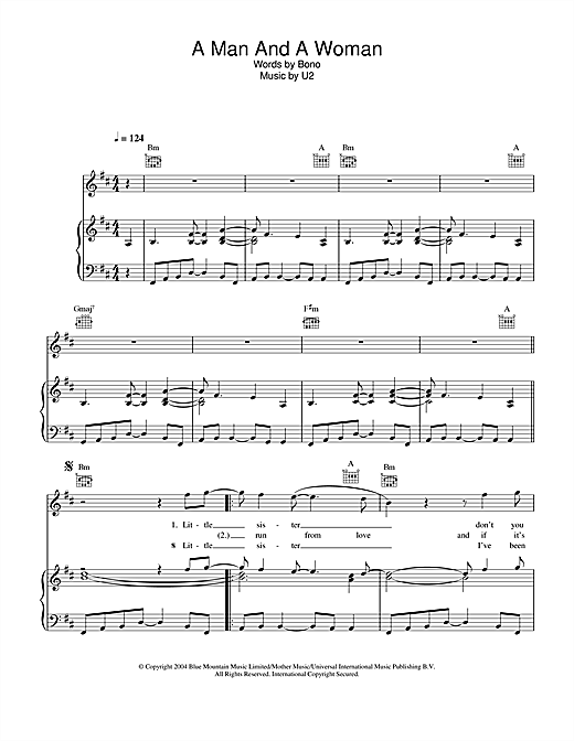 U2 A Man And A Woman sheet music notes printable PDF score