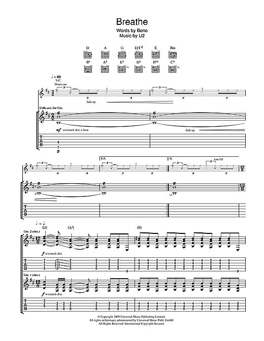 U2 Breathe sheet music notes printable PDF score