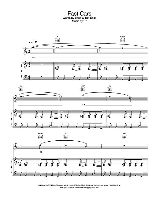 U2 Fast Cars sheet music notes printable PDF score