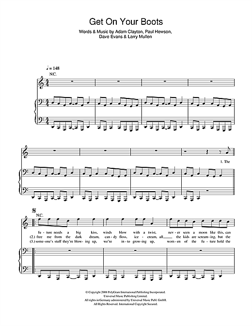 U2 Get On Your Boots sheet music notes printable PDF score