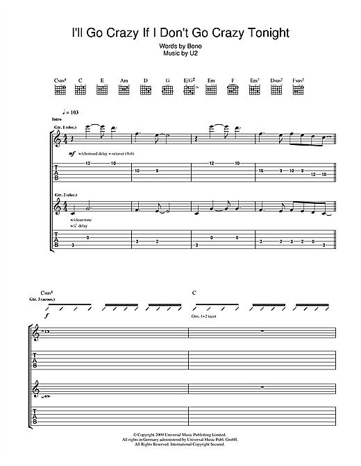 U2 I'll Go Crazy If I Don't Go Crazy Tonight sheet music notes printable PDF score