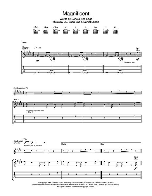 U2 Magnificent sheet music notes printable PDF score