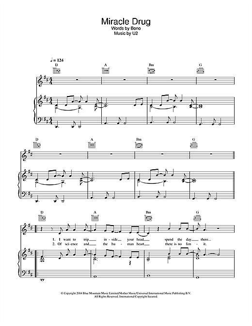 U2 Miracle Drug sheet music notes printable PDF score
