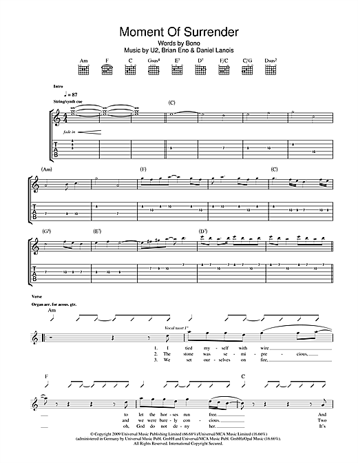 U2 Moment Of Surrender sheet music notes printable PDF score