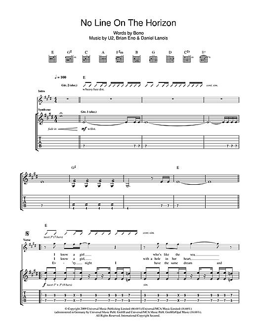 U2 No Line On The Horizon sheet music notes printable PDF score