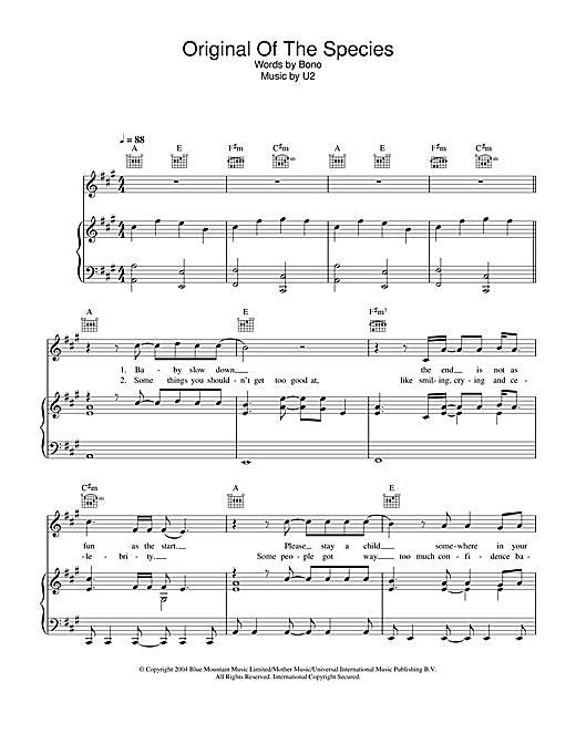 U2 Original Of The Species sheet music notes printable PDF score