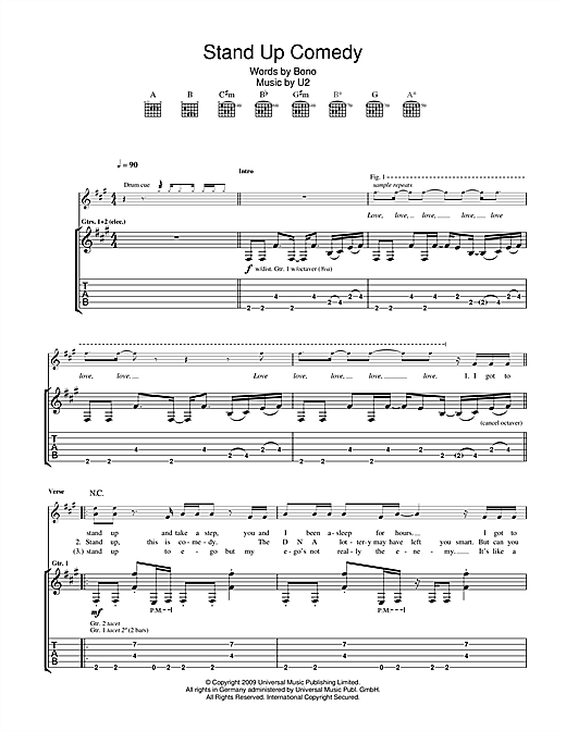 U2 Stand Up Comedy sheet music notes printable PDF score