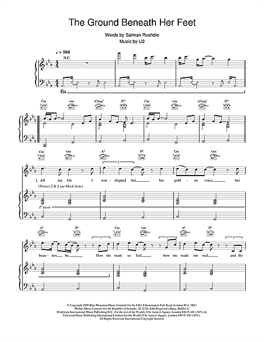 U2 The Ground Beneath Her Feet (from The Million Dollar Hotel) sheet music notes printable PDF score
