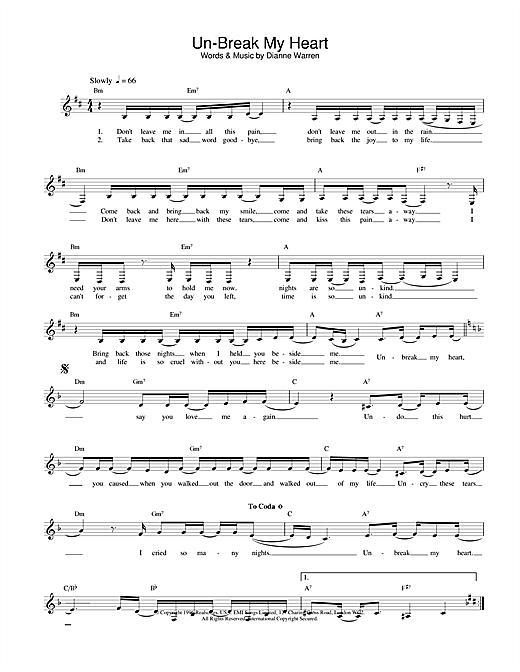 Toni Braxton Un-Break My Heart sheet music notes printable PDF score
