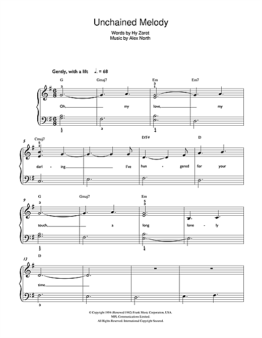 The Righteous Brothers Unchained Melody sheet music notes printable PDF score