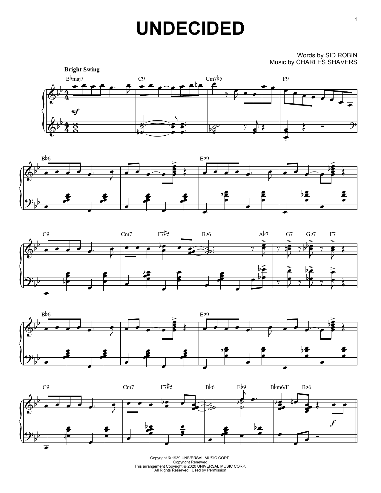 Chick Webb and His Orchestra Undecided [Jazz version] (arr. Brent Edstrom) sheet music notes printable PDF score