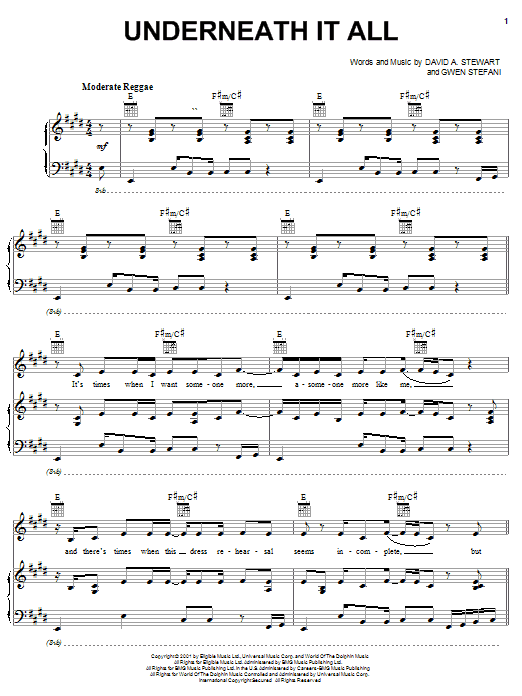 No Doubt Underneath It All sheet music notes printable PDF score