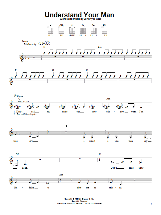 Johnny Cash Understand Your Man sheet music notes printable PDF score