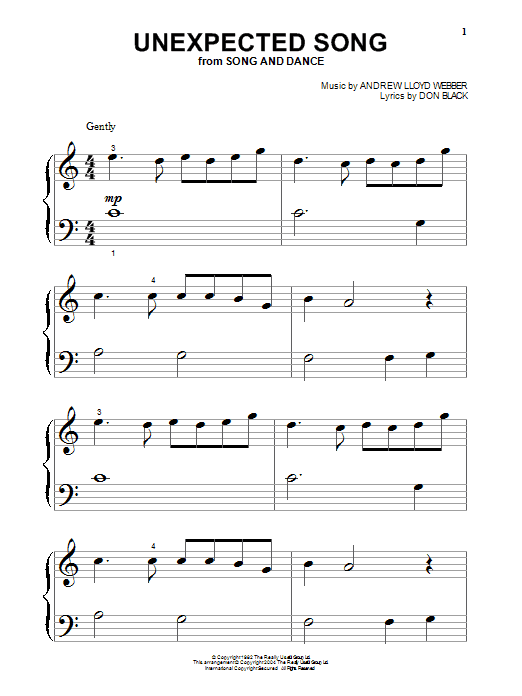 Bernadette Peters Unexpected Song (from Song & Dance) sheet music notes printable PDF score