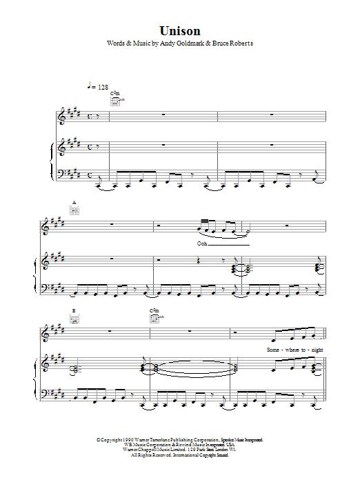 Celine Dion Unison sheet music notes printable PDF score