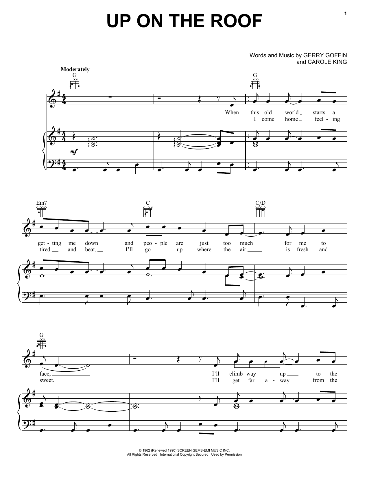 The Drifters Up On The Roof sheet music notes printable PDF score