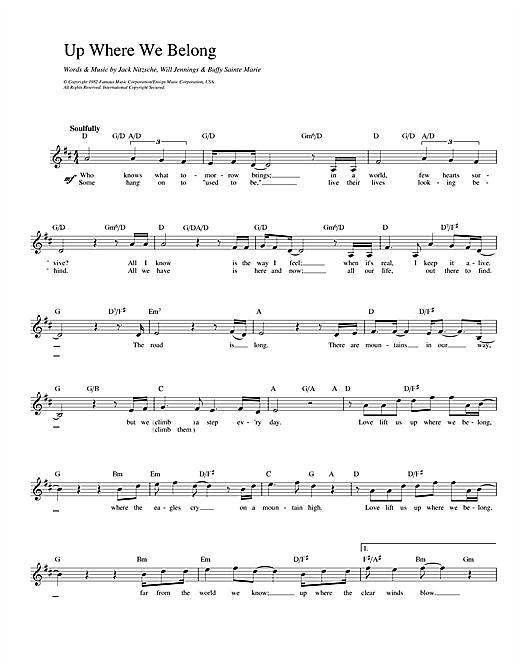 Joe Cocker and Jennifer Warnes Up Where We Belong (from An Officer And A Gentleman) sheet music notes printable PDF score