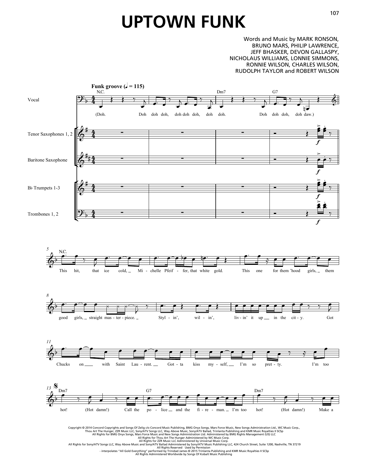 Mark Ronson Uptown Funk (feat. Bruno Mars) (Horn Section) sheet music notes printable PDF score