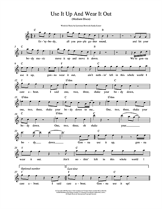 Odyssey Use It Up And Wear It Out sheet music notes printable PDF score