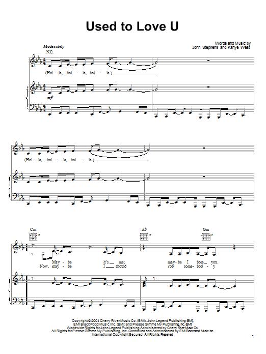John Legend Used To Love U sheet music notes printable PDF score