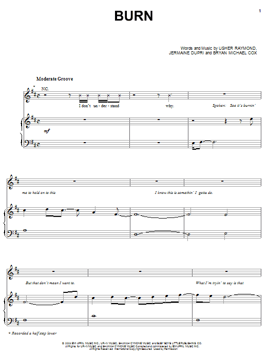 Usher Burn sheet music notes and chords. Download Printable PDF.