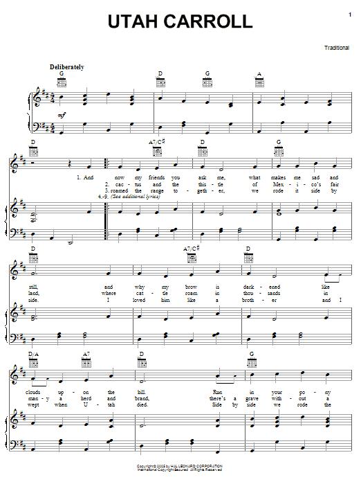 Traditional Utah Carroll sheet music notes printable PDF score