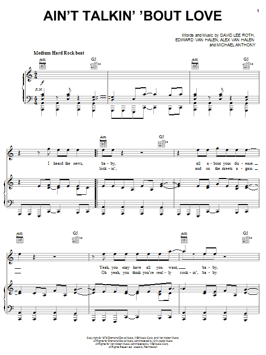 Van Halen Ain't Talkin' 'Bout Love sheet music notes and chords. Download Printable PDF.