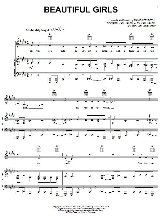 Van Halen Beautiful Girls sheet music notes and chords. Download Printable PDF.