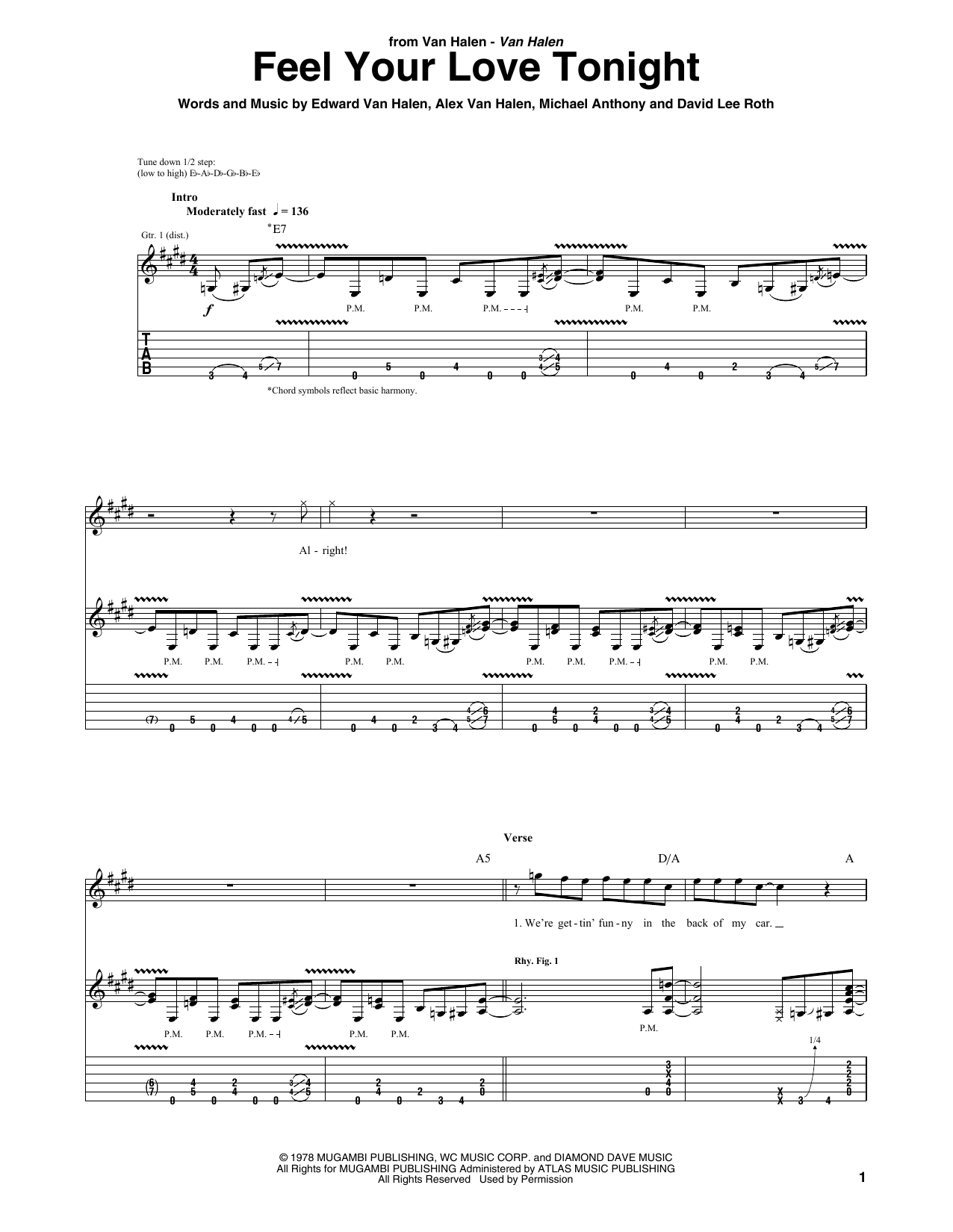 Van Halen Feel Your Love Tonight sheet music notes and chords. Download Printable PDF.