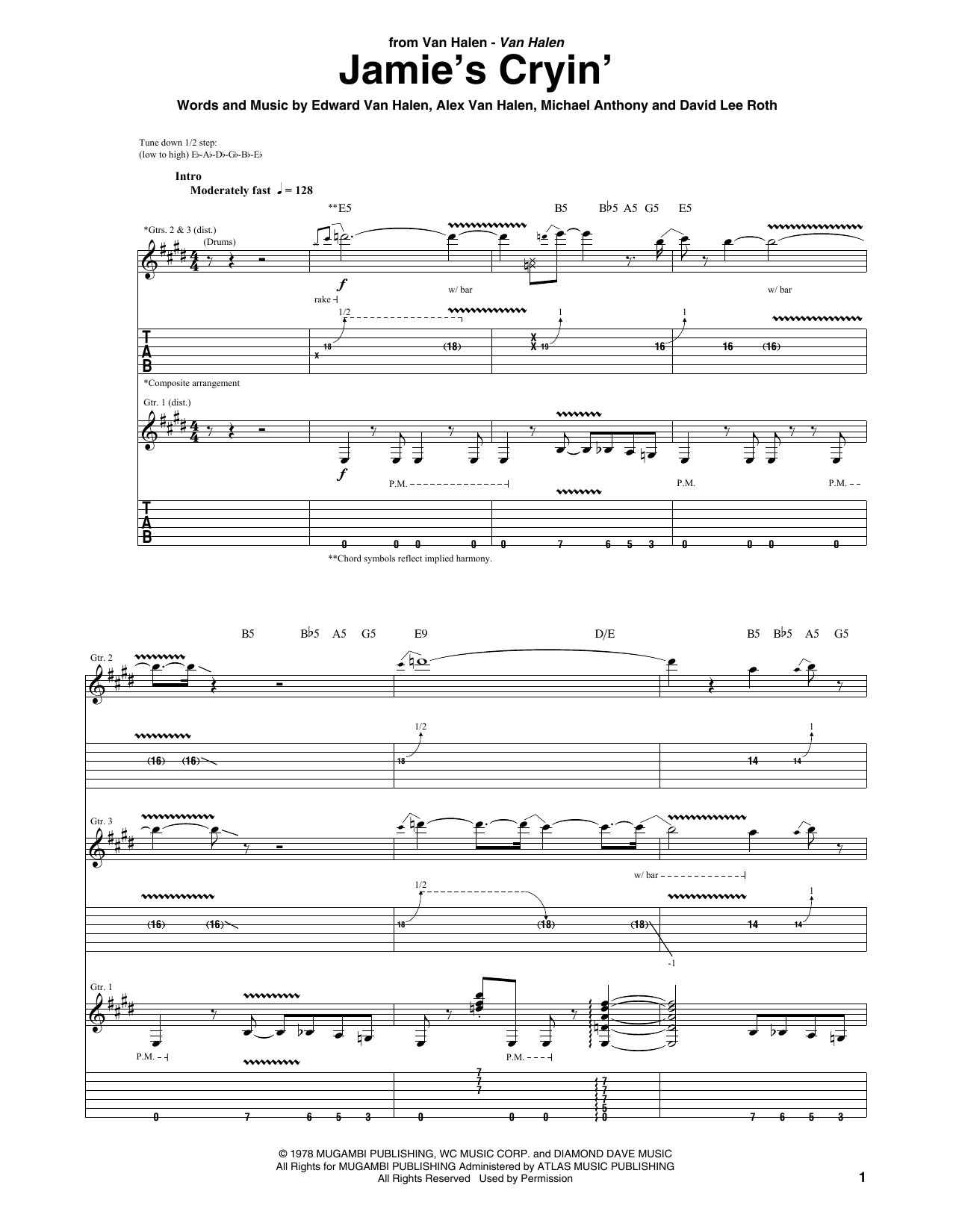 Van Halen Jamie's Cryin' sheet music notes and chords. Download Printable PDF.
