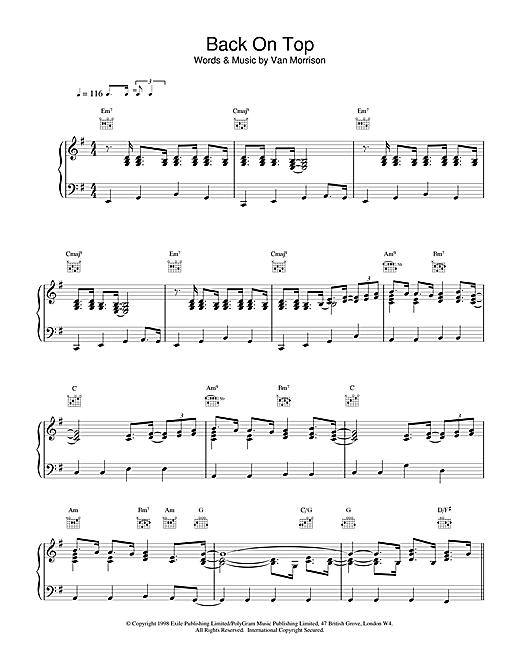 Van Morrison Back On Top sheet music notes printable PDF score