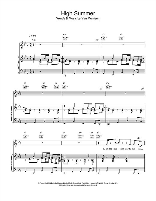 Van Morrison High Summer sheet music notes printable PDF score